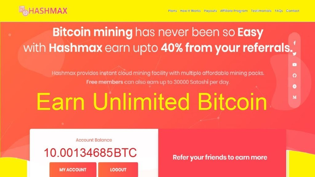 Hashmax New Bitcoin Mining Site Earn Unlimited Bitcoin   Free Hash Power