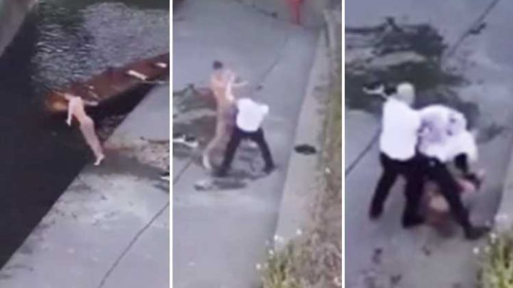 Lad strips off and dives into river before bouncer throws punches and hauls him to ground in front of pub-goers