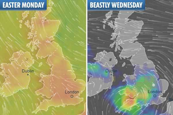 UK weather forecast – Britain braced for STORMS as heavy rain and 60mph gales to batter country after record Easter sunshine