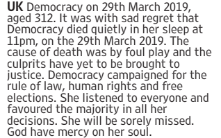 Prankster takes out obituary in newspaper to mark 'death of British democracy' over Brexit