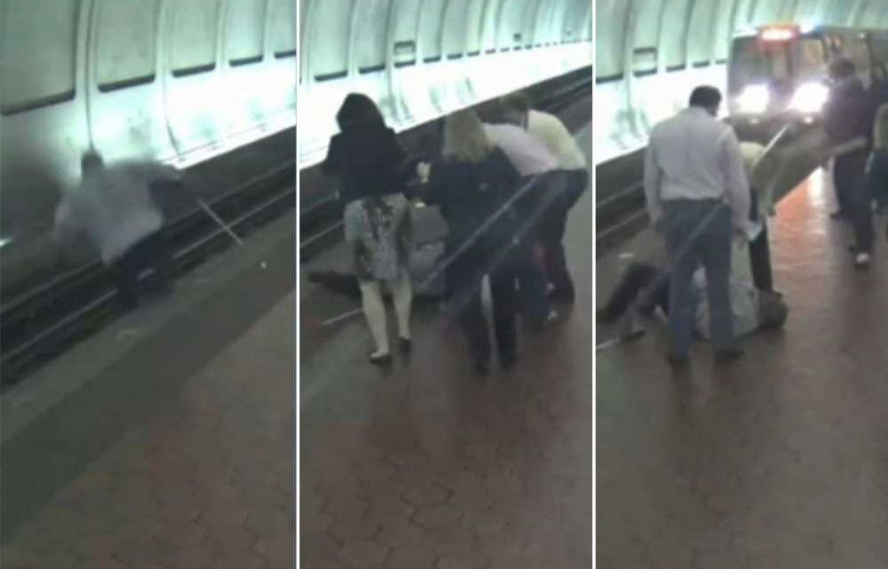 Bystanders save blind man from oncoming subway train