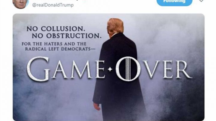 Trump tweets 'Game of Thrones' victory message ahead of Mueller report