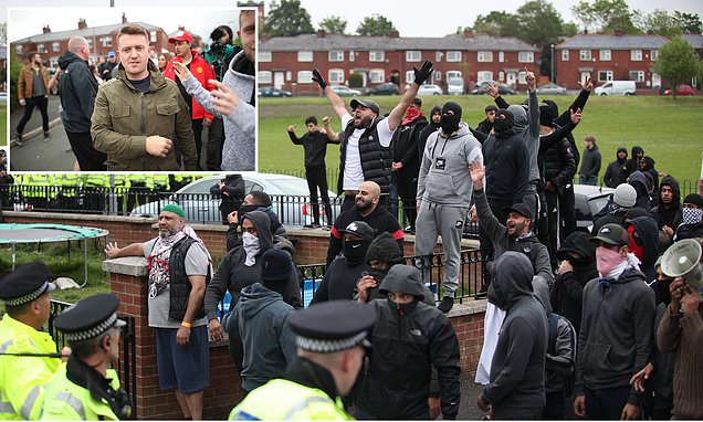 Violence as Tommy Robinson supporters clash with crowds in Oldham