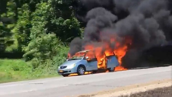 Shocking video shows car in flames on Queens parkway