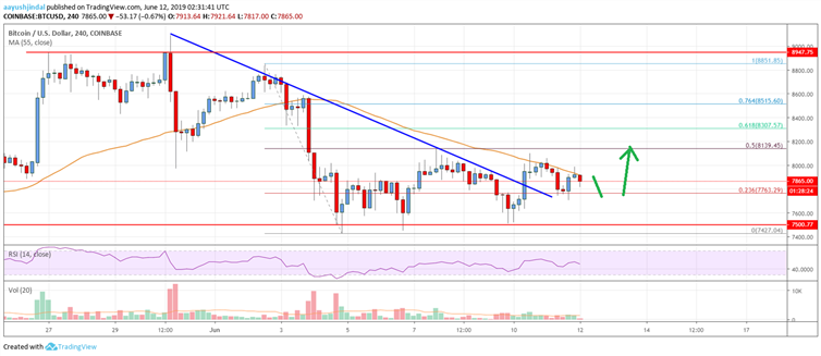 Bitcoin Price Analysis: BTC Facing Uphill Task Near $8,000