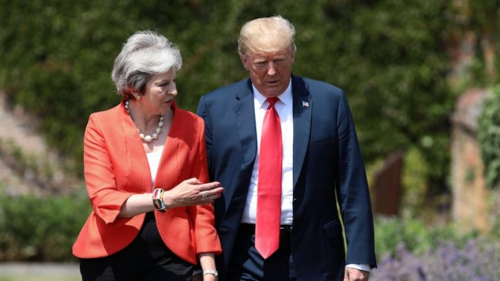 Trump and May set to clash on climate change and Huawei ahead of mass British protests