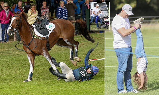 Zara takes a tumble as she falls off her horse at Burghley Trials