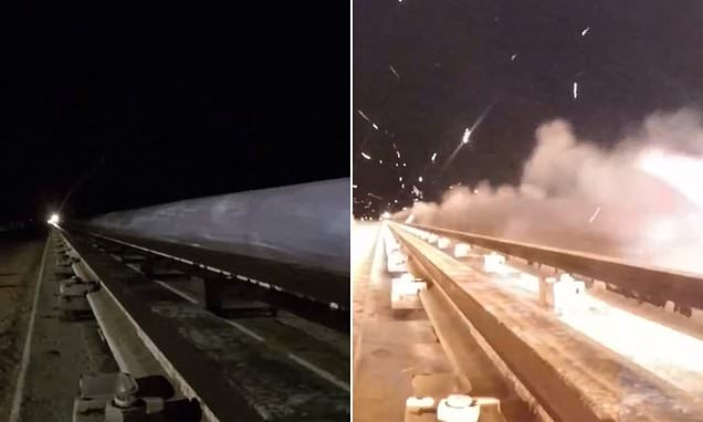 Video shows hypersonic rocket sled speeding down a track at 6,599 mph