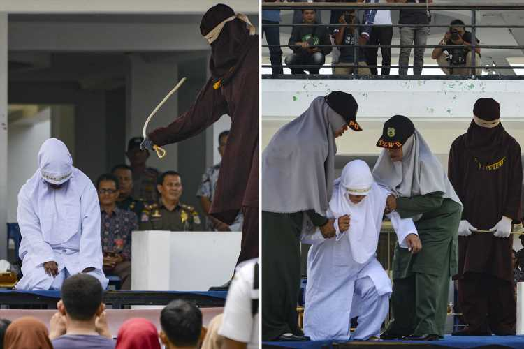 Woman collapses in agony as she's savagely caned for 'having sex outside marriage' in front of Indonesian crowd