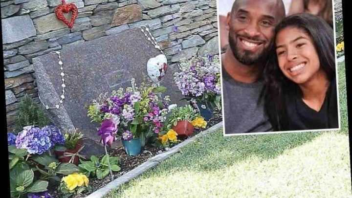 Private grave where Kobe Bryant and daughter Gianna were laid to rest with Lakers-colored flowers – The Sun