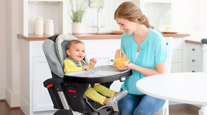 This high chair can be used 3 different ways as your baby gets older — it will take my daughter through toddlerhood