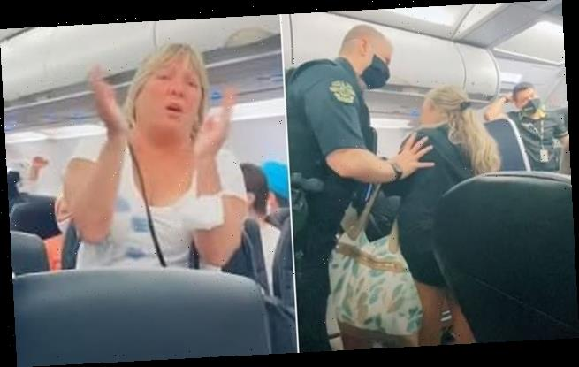 Maskless Karen shouts 'racism at its best' as she's kicked off plane