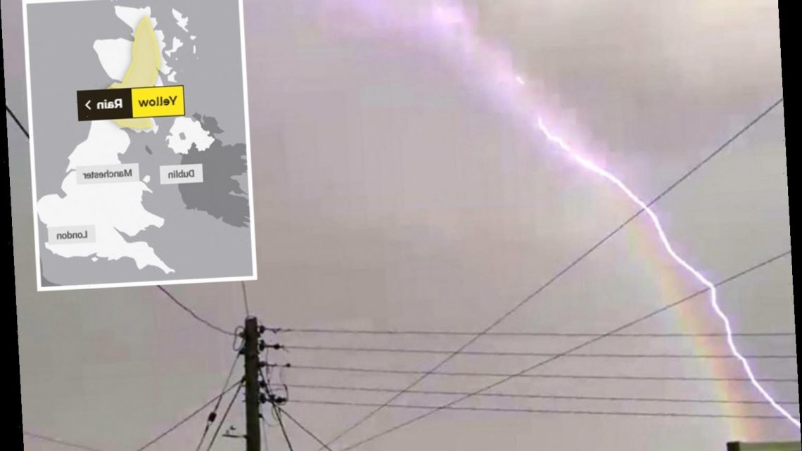 UK weather – Lightning bolt 'hits rainbow' as two weeks of rain set to fall in just three hours tomorrow