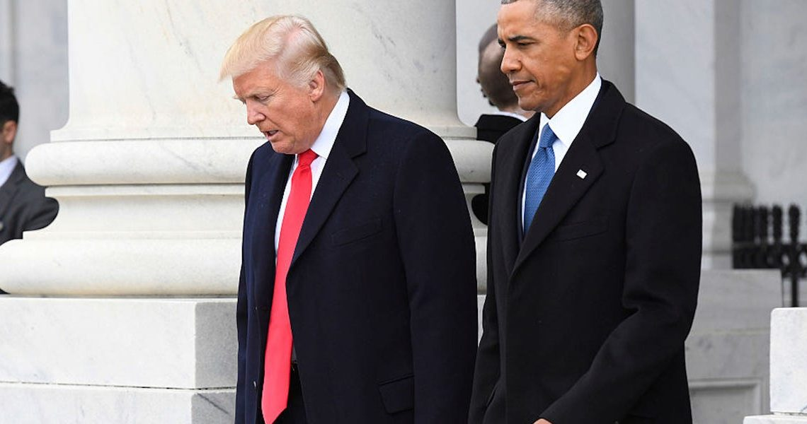 Trump tweets conspiracy theory minutes after Obama accuses him of treating the presidency like 'one more reality show he can use to get the attention he craves'