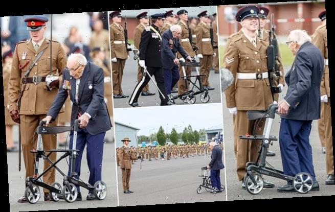 Captain Sir Tom Moore gives rousing speech to 300 junior soldiers
