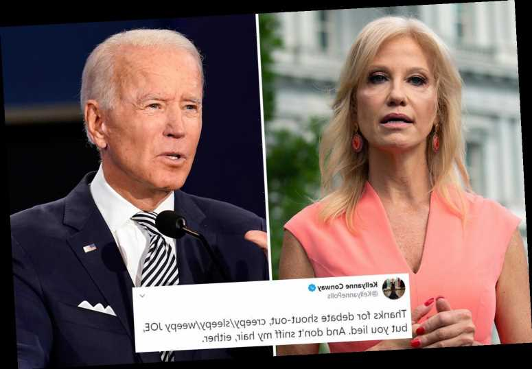 Kellyanne Conway blasts Joe Biden for 'lying' about her during presidential debate and says 'don't sniff my hair'