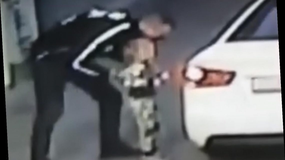 Chilling moment child snatcher grabs girl, 4, and drives off while mum was paying for fuel at petrol station