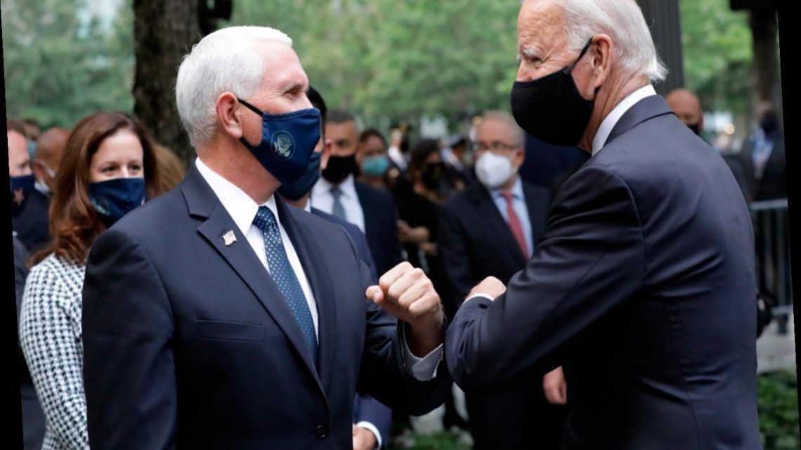 Joe Biden and Mike Pence bump elbows at 9/11 memorial in NYC as 'tasteless' flyover is CANCELED
