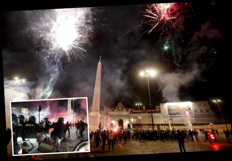 Rome riots over Covid curfew as police pelted with fireworks in second night of clashes