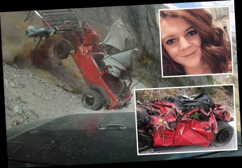 Horrifying moment Jeep plummets down cliff leaving passenger, 23, with spine injuries after she was thrown from car