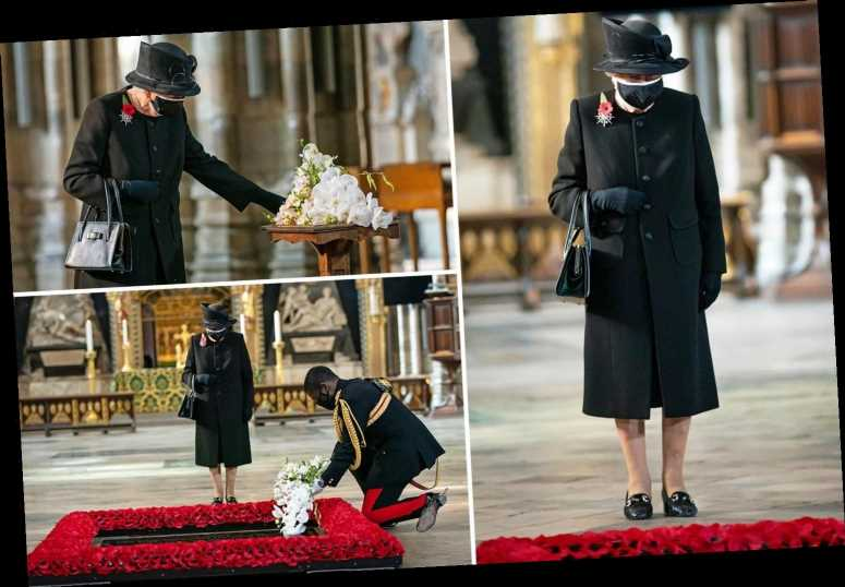 Queen pictured wearing face mask for first time at 'deeply personal' Remembrance Day tribute