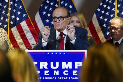 Giuliani presses Trump election challenge case in fiery news conference with legal team