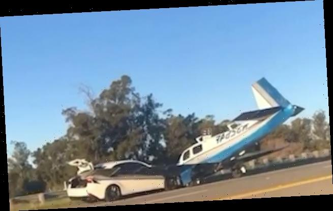 Moment small plane crashes into a CAR as it makes an emergency landing