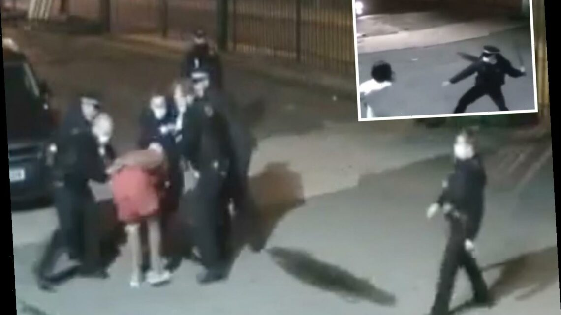 Police filmed striking man to the ground in Covid swoop on lockdown-flouting gym as fleeing customers chased with batons