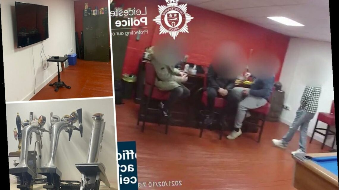 Moment 7 lads caught breaking Covid rules as they boozed and watched football in pop-up pub tell cops 'we're working'