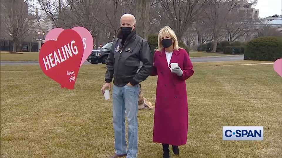 Joe and Jill Biden Tour Valentine's Day Decorations on White House Lawn