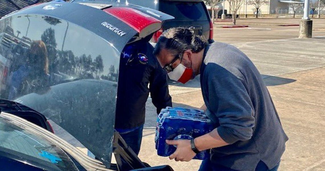 Ted Cruz is being mocked over photos showing him loading bottles of water into a car as he seeks to rebuild his reputation after the Cancun vacation debacle