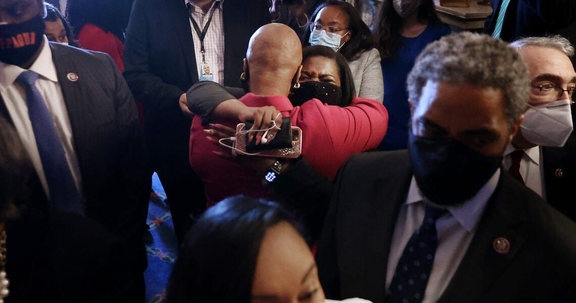 Powerful images capture Cori Bush and Ayanna Pressley's emotional reaction as Derek Chauvin was found guilty for the murder of George Floyd