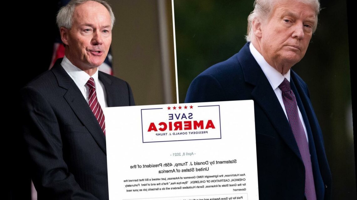 Trump blasts 'lightweight' Arkansas Gov Asa Hutchinson for supporting 'chemical castration of children'