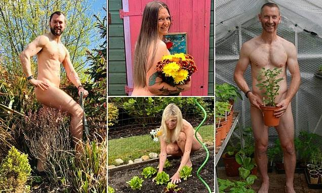 Britons bare all as they take part in World Naked Gardening Day