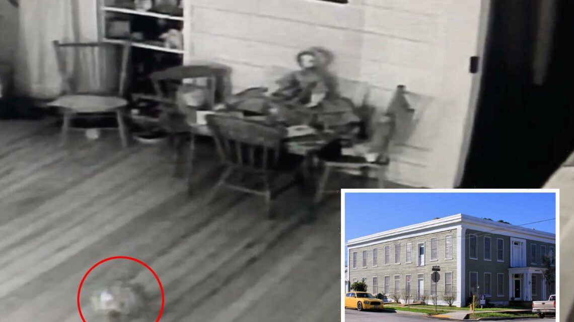 Creepy footage shows child's ball rolling by itself inside hotel as owner says it was the ghost of murdered little girl