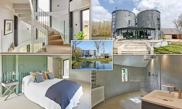 Luxury home converted from a pair of huge GRAIN SILOS