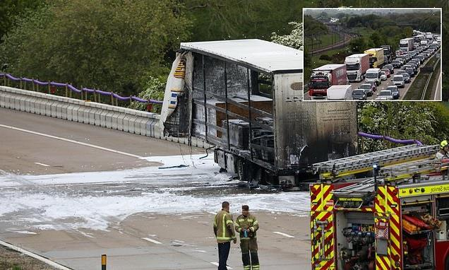 Two-mile TORMENT for M20 drivers after lorry bursts into flames