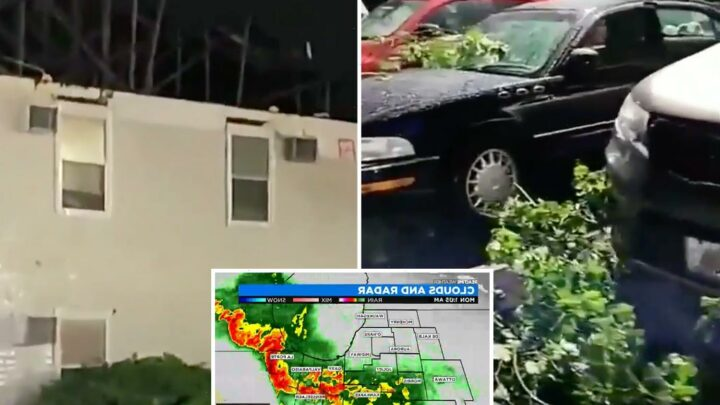 Tornado warnings for Chicago as deadly thunderstorms damage homes and leave 48,000 without power