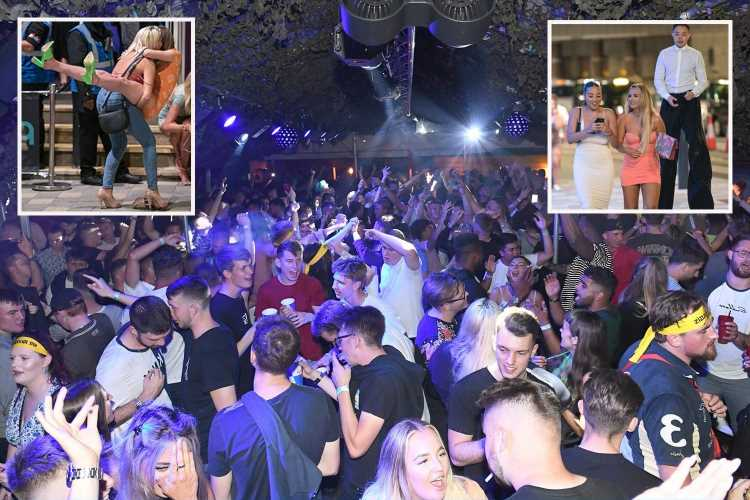 Boozy Brits enjoy first Friday night of freedom since Covid restriction are lifted as revellers pack out clubs and bars