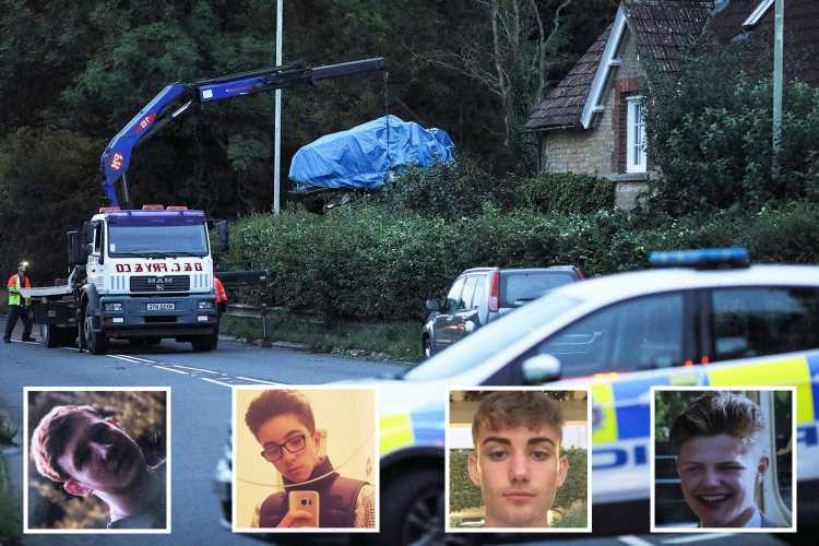 Four young pals died in 'huge fireball' car crash after drunk driver, 20, sped at 120mph before ploughing into house