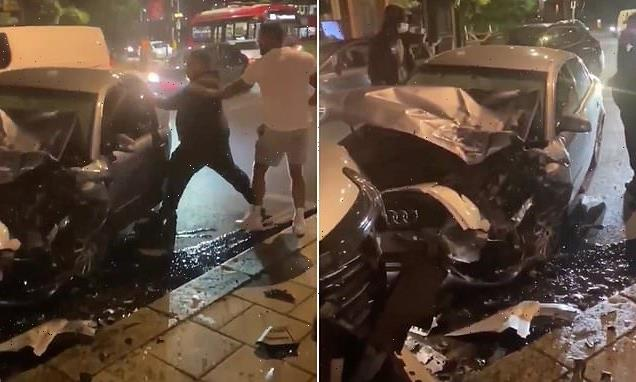Driver repeatedly SLAPS another motorist after car smash