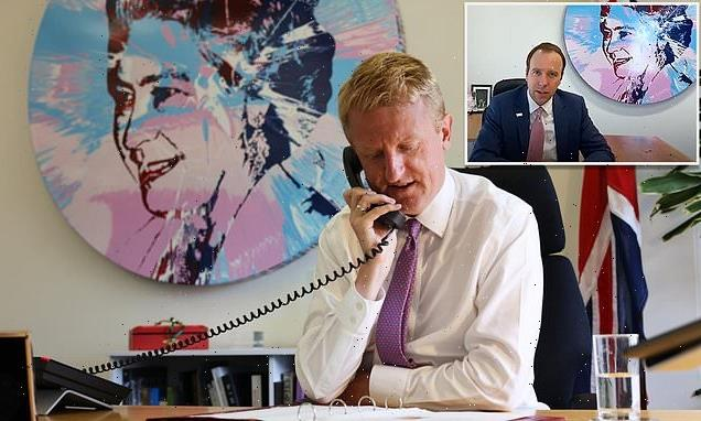 Queen portrait from Matt Hancock's office spotted behind Oliver Dowden