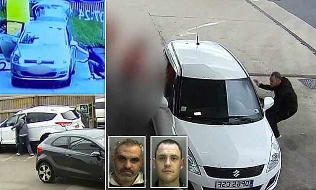 Moment car thief jumps behind wheel and speeds off as driver fills up