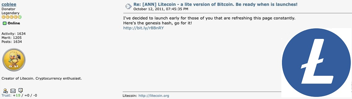Charlie Lee Sums Up Litecoin's 10 Years History. Part One: Fair Launch