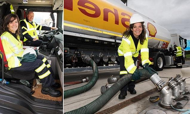 JANE FRYER mobbed by motorists during her day with a tanker driver