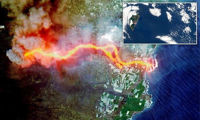 Lava has expanded Spanish Island of La Palma, satellite images show