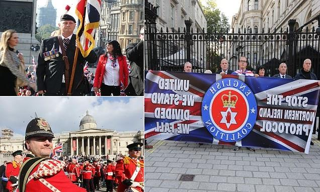 Loyalists march on Downing Street demonstrating against NI Protocol